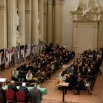 Imola - La chiesa gremita durante la presentazione della mostra