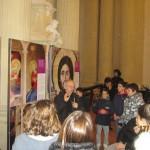 Imola - Don Giuseppe spiega la mostra agli studenti delle medie