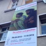 Bolzano - Lo stendardo nella facciata del convento dei Domenicani