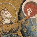 """""""La creazione del cielo e della terra"""", mosaico, part. Monreale, basilica. Archivio Ultreya, Milano"""